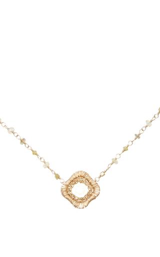 Medium dana kellin yellow 14k gold rosary slice pendant necklace
