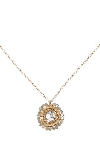 Medium dana kellin gold 14k gold diamond slice pendant necklace