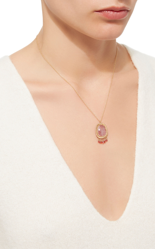 14 K Gold Pink Sapphire Pendant Necklace by DANA KELLIN Now Available on Moda Operandi