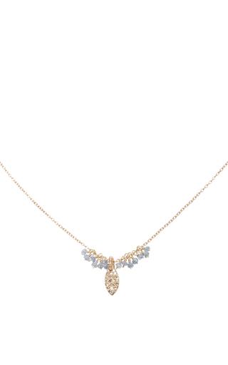 14 K Gold Diamond Sapphire Cluster Necklace by DANA KELLIN Now Available on Moda Operandi