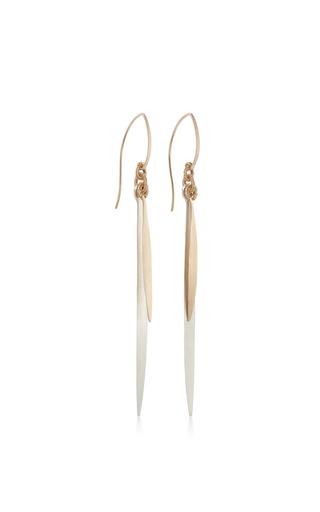 14 K Gold Silver Double Feather Earring by DANA KELLIN Now Available on Moda Operandi