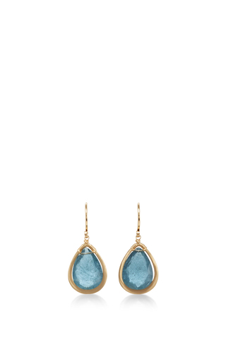 Medium dana kellin blue 14k gold moss aqua pendant earring