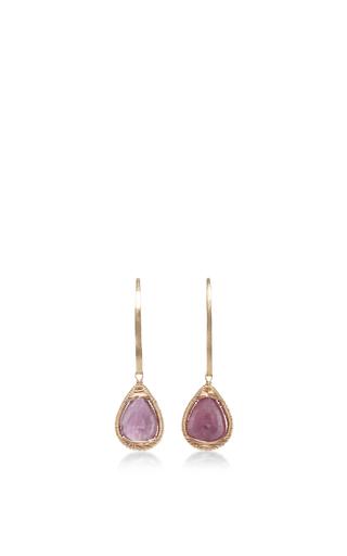 Medium dana kellin light pink 14k gold marquis hoop ruby earring