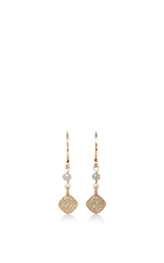 14 K Gold Pave Diamond Drop Earring by DANA KELLIN Now Available on Moda Operandi