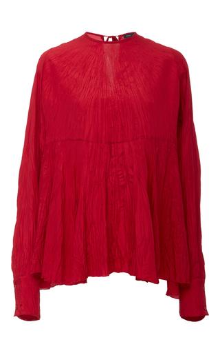 Medium joseph red wright long sleeve wrinkle blouse
