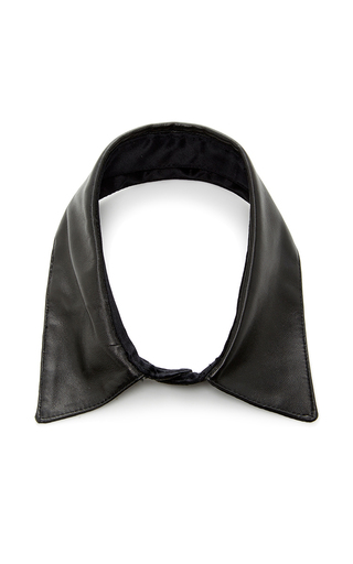 Medium fleur du mal black leather collar