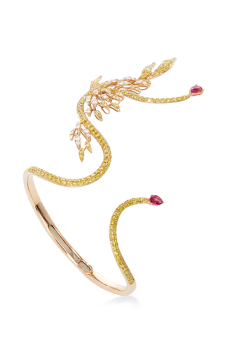 Golden Diamond Cuff by WENDY YUE Now Available on Moda Operandi