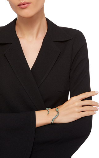 Diamond And Opal Snake Cuff by WENDY YUE Now Available on Moda Operandi