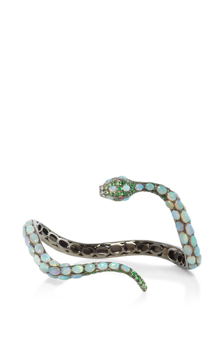 Medium wendy yue green diamond and opal snake cuff