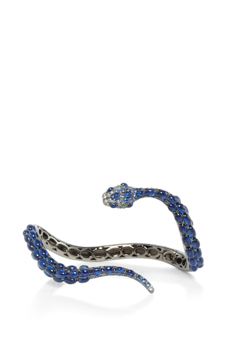 Sapphire And Tsavorite Snake Cuff by WENDY YUE Now Available on Moda Operandi