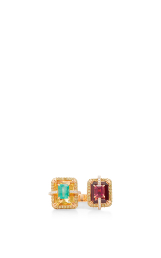 Medium wendy yue orange citrine and garnet ring