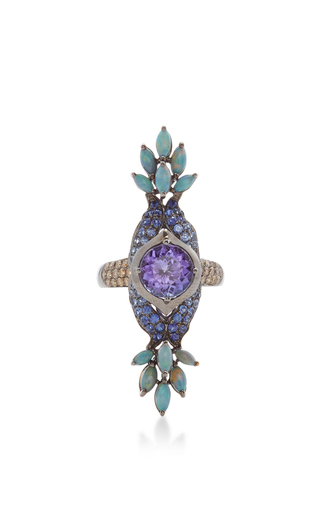 Medium wendy yue blue blue sapphire and opal ring