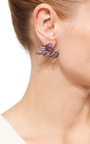 Pink Sapphire And Amethyst Leaf Earrings by WENDY YUE Now Available on Moda Operandi