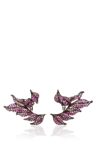 Medium wendy yue red pink sapphire and amethyst leaf earrings