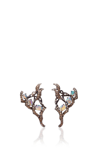 Opal And Champagne Diamond Earrings by WENDY YUE Now Available on Moda Operandi