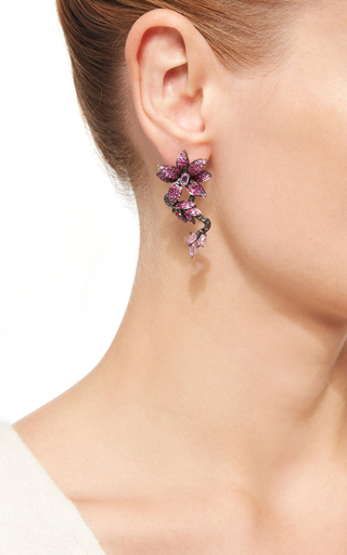 Ruby And Pink Sapphire Flower Earrings by WENDY YUE Now Available on Moda Operandi