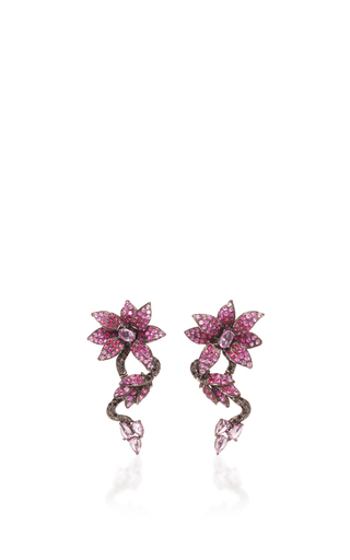 Medium wendy yue red ruby and pink sapphire flower earrings