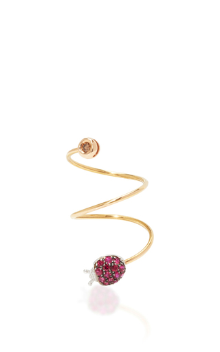 Medium pippo perez burgundy ruby lady bug ring