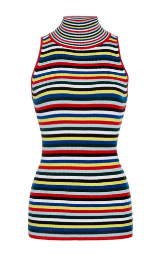 Medium rosetta getty stripe striped ribbed sleeveless turtleneck shirt
