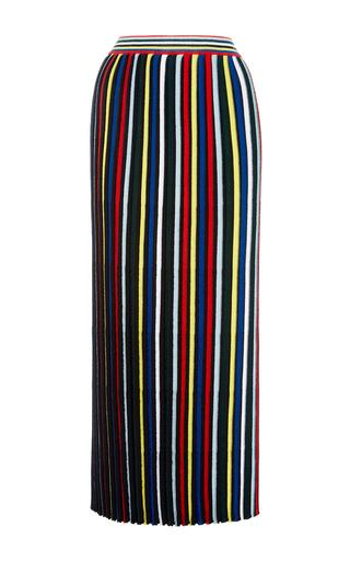 Medium rosetta getty stripe pleated stripe knit skirt