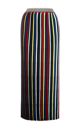 Medium rosetta getty stripe pleated stripe knit skirt