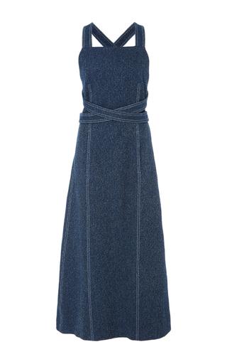 Medium rosetta getty blue apron wrap tweed dress