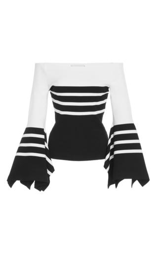Medium rosetta getty stripe off the shoulder knit scarf hem top