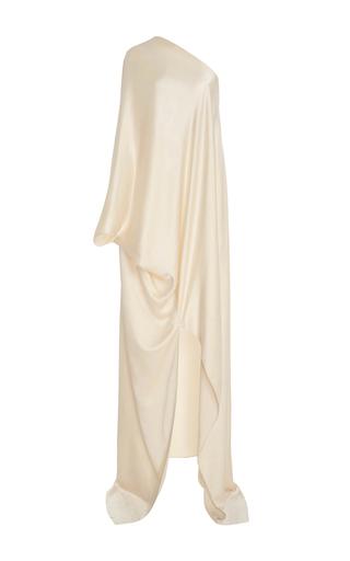Medium rosetta getty off white one shoulder bias caftan satin gown