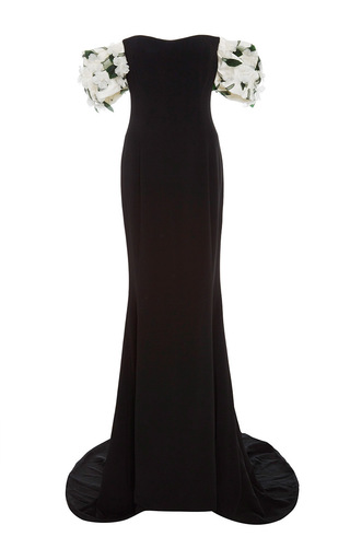 Medium elizabeth kennedy black off the shoulder gown with draped sleeves