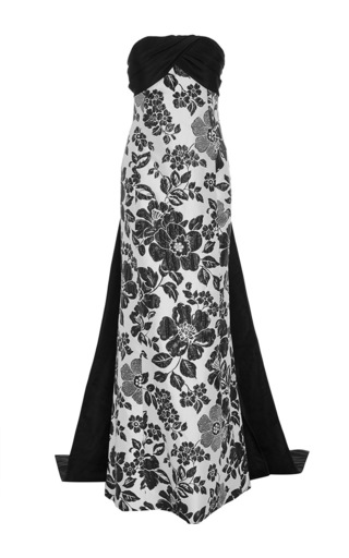 Medium elizabeth kennedy black floral jacquard column gown with back tie