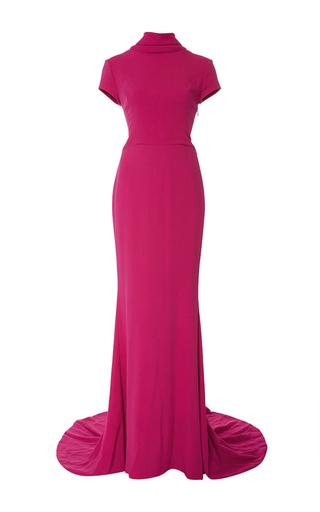 Medium elizabeth kennedy pink high neck cap sleeve gown