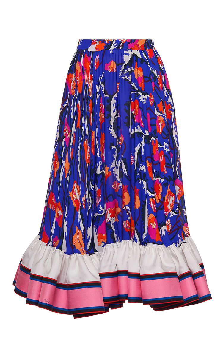 online store e39b3 c83f1 A-Line Ruffled Silk Skirt
