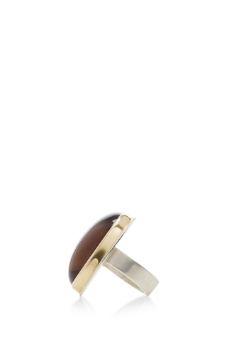 14 K Gold Blood Tiger's Eye Oval Ring by JAMIE JOSEPH Now Available on Moda Operandi