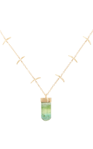 Medium jamie joseph green 14k gold stick necklace