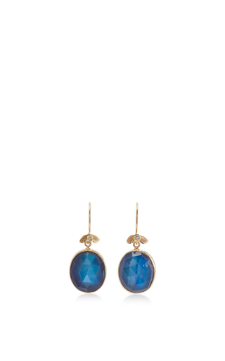 Medium jamie joseph blue 14k gold rainbow moonstone earrings