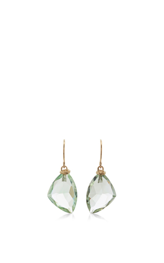 14 K Gold Mint Quartz Earrings by JAMIE JOSEPH Now Available on Moda Operandi