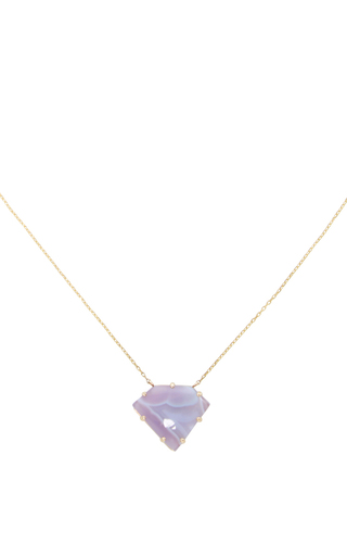 14 K Gold Agate Prong Necklace by JAMIE JOSEPH Now Available on Moda Operandi