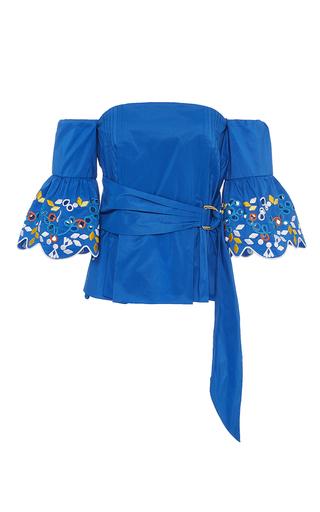 Medium peter pilotto blue taffeta embroidered corset top