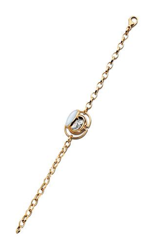 Medium monica rich kosann blue 18k yellow gold locket bracelet