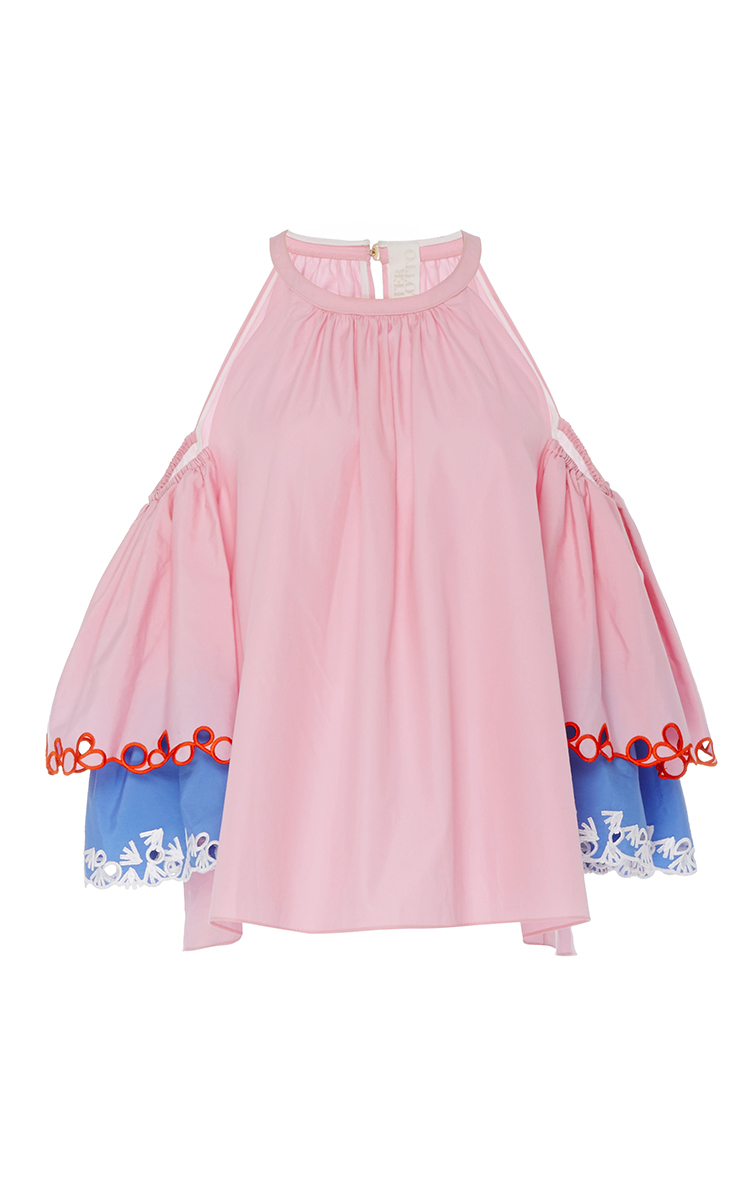 989b65ec87f13 Pink Embroidered Cold Shoulder Blouse by Peter Pilotto