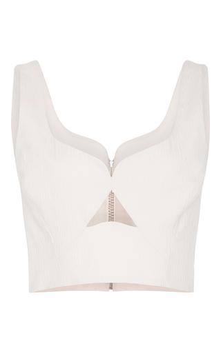 Medium prabal gurung off white sweetheart neck crop blouse