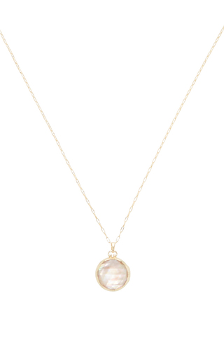 18 K Yellow Gold Petite Initial Locket Necklace by MONICA RICH KOSANN Now Available on Moda Operandi