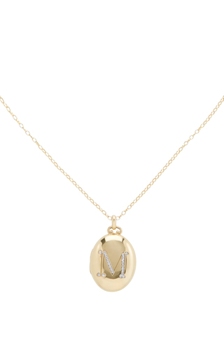 18 K Yellow Gold Initial Locket Necklace by MONICA RICH KOSANN Now Available on Moda Operandi