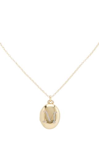 Medium monica rich kosann gold 18k yellow gold initial locket necklace