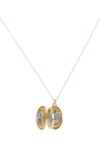 18 K Yellow Gold High Polished Locket Necklace by MONICA RICH KOSANN Now Available on Moda Operandi