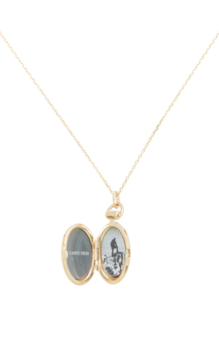 18 K Yellow Gold Petite Anna Locket Necklace by MONICA RICH KOSANN Now Available on Moda Operandi