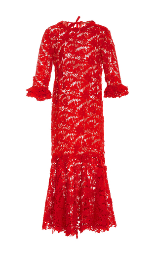 Medium johanna ortiz red m o exclusive cabo rojo lace dress