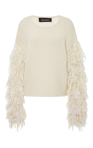 Medium tabula rasa neutral karash fringe sleeve sweater