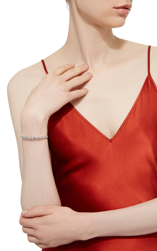 18 K White Gold Diamond Bone Bangle by KAMUSHKI Now Available on Moda Operandi