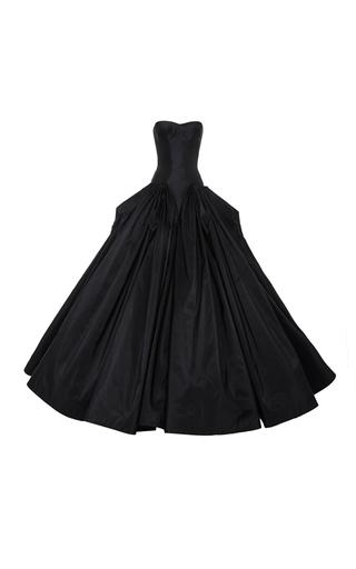 Medium zac posen black taffeta strapless gown